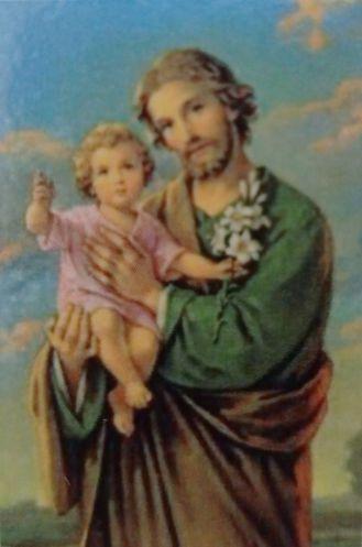 Der heilige Josef mit Jesuskind, wie auf dem Gebetszettel zum nebenstehenden Gebet