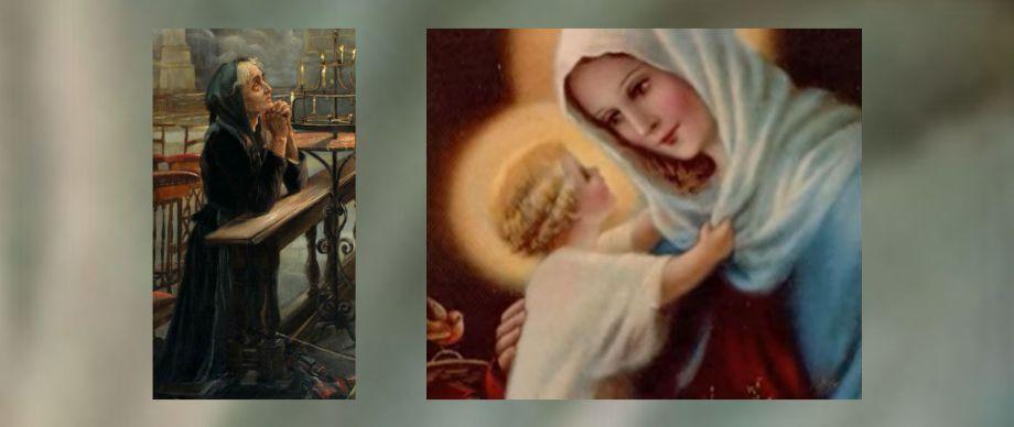 Bild links: Betende Frau von Auguste Bourotte (1897).     Bild rechts: Auszug aus dem nächsten Video unterhalb.