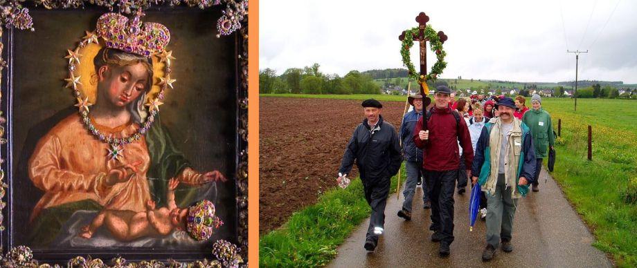 Gnadenbild von Maria Plain (Österreich) und Wallfahrer mit dem Kreuz voran nach Trier