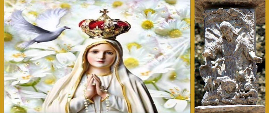 Eine Taube fliegt zu Maria; Jesaia auf der Menora vor der Knesset in Jerusalem prophezeit den Tierfrieden